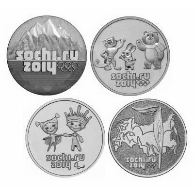 """25 рублей 2011-14 """"Набор из 4-х монет. Зимняя Олимпиада в Сочи 2014"""""""