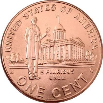 """1 цент 2009 США """"200-летие Авраама Линкольна. Карьера в Иллинойсе"""""""