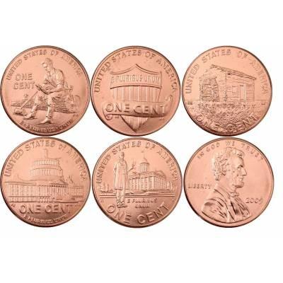 "Набор монет США 1 цент ""200-летие Авраама Линкольна"""