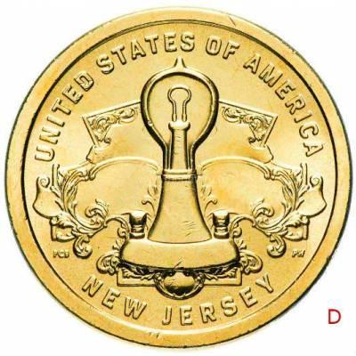 """1 доллар США 2019 """"Американские инновации - Лампа накаливания Эдисона (Нью Джерси)"""" Двор """"D"""""""