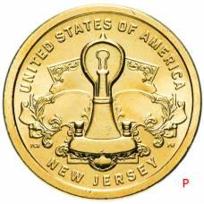 """1 доллар США 2019 """"Американские инновации - Лампа накаливания Эдисона (Нью Джерси)"""" Двор """"P"""""""