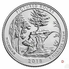 """25 центов 2018 США 41-й """"Национальный парк - Живописные скалы, штат Мичиган"""" Двор """"D"""""""
