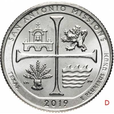 """25 центов 2019 США 49-й """"Национальный исторический парк миссий Сан-Антонио"""" Двор""""D"""""""