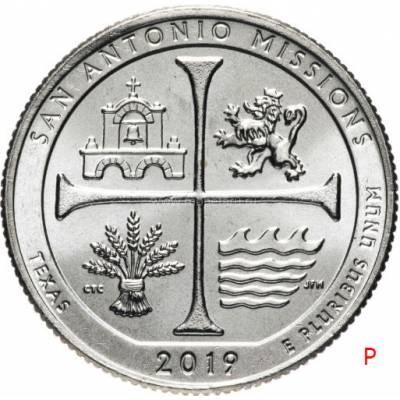 """25 центов 2019 США 49-й """"Национальный исторический парк миссий Сан-Антонио"""" Двор""""P"""""""