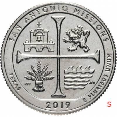 """25 центов 2019 США 49-й """"Национальный исторический парк миссий Сан-Антонио"""" Двор""""S"""""""
