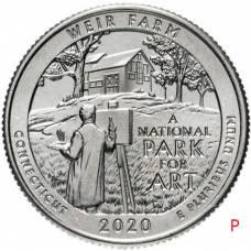 """25 центов 2020 США 52-й """"Национальные парки - Ферма Дж. А. Вейра, Коннектикут"""" Двор """"P"""""""