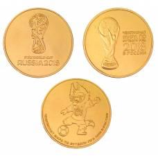 Набор из 3-х монет ЧМ в России по футболу FIFA (позолота). 25 рублей 2018