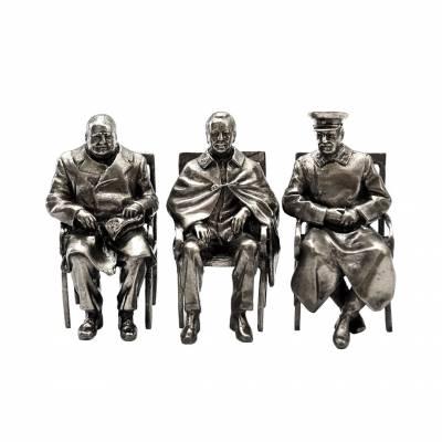 """Статуэтки"""" Сталин Черчилль Рузвельт"""" (мельхиор)"""